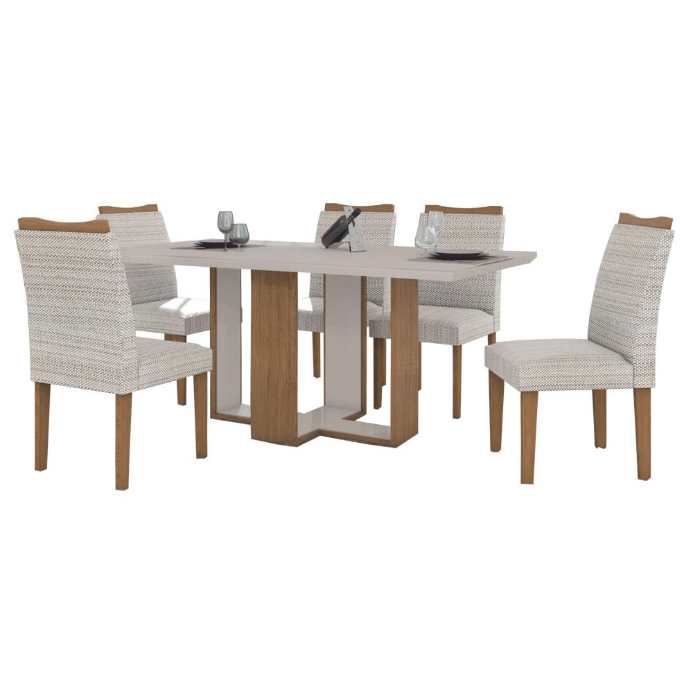 Mesa De Jantar Atlanta 180cm Quina Reta Com 6 Cadeiras Imbuia Off  -> Sala De Jantar Atlanta
