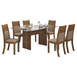 Bel-Air-Moveis_Mesa-de-jantar-Havai-160cm-tampo-de-vidro-6-cadeiras-havai-canela-linho-bege