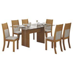 Bel-Air-Moveis_Mesa-de-jantar-Havai-160cm-tampo-de-vidro-6-cadeiras-havai-ype-imbuia-mel-pena-palha