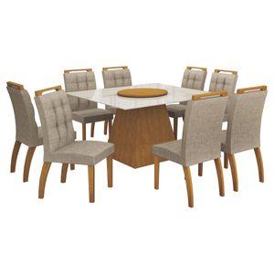 Bel-Air-Moveis_Mesa-de-jantar-Grecia-140cm-prato-giratorio-cadeiras-malaga_Imbuia-mel-linho-bege