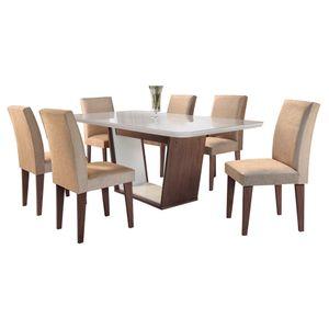 Bel-air-moveis_Mesa-de-jantar-Sofia-Cafe-off-white_cadeira-grecia-tecido-veludo-caramelo_Rufato
