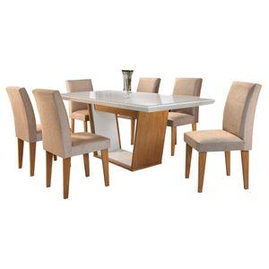Bel-air-moveis_Mesa-de-jantar-Sofia-Imbuia-off-white_cadeira-grecia-tecido-veludo-caramelo_Rufato