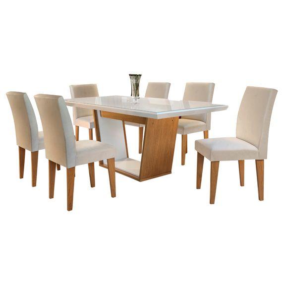 Bel-air-moveis_Mesa-de-jantar-Sofia-Imbuia-off-white_cadeira-grecia-tecido-veludo-creme_Rufato